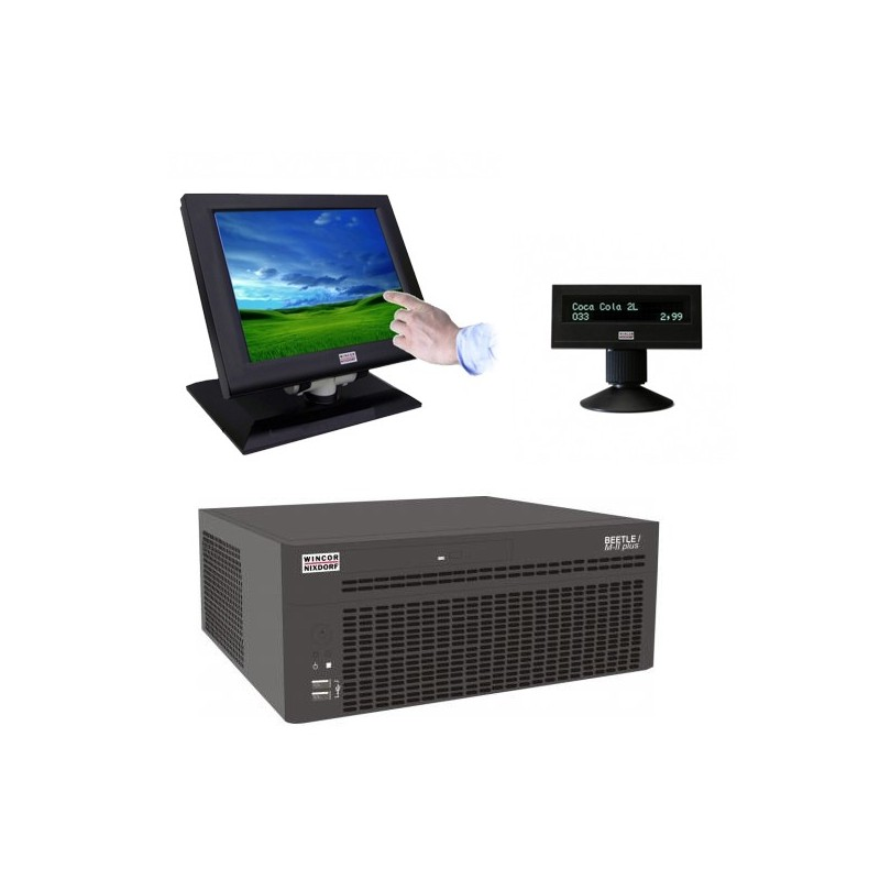 Sisteme POS Wincor Beetle M-II Plus G41, Touchscreen IR BA73A-2 15 inci, display client BA63